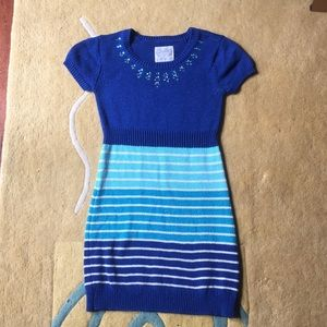 Blue and white stripy sweater dress